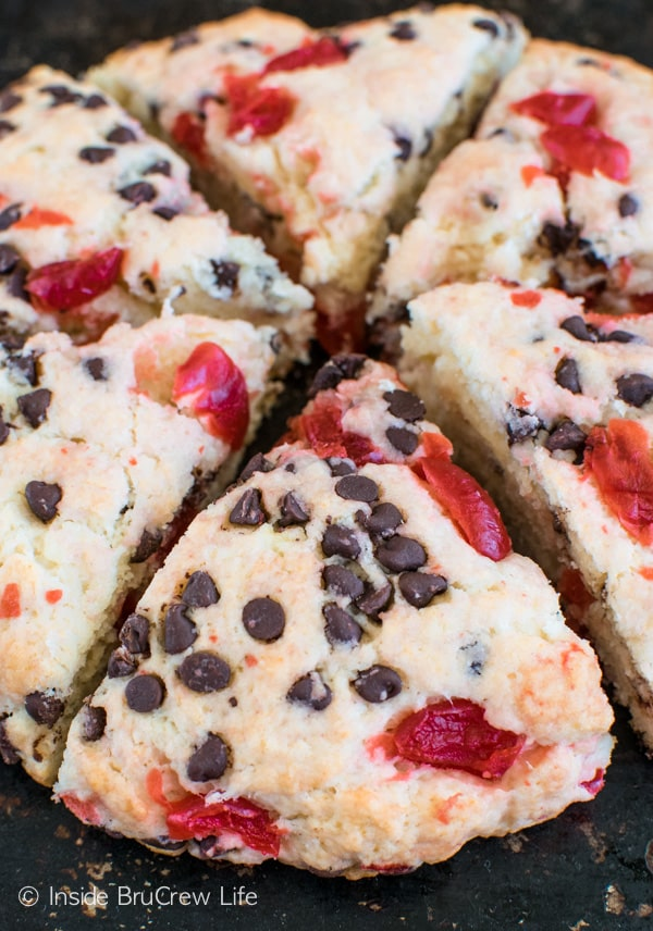 A chocolate and cherry twist makes this Cherry Chocolate Chip Scones recipe a delicious breakfast treat.