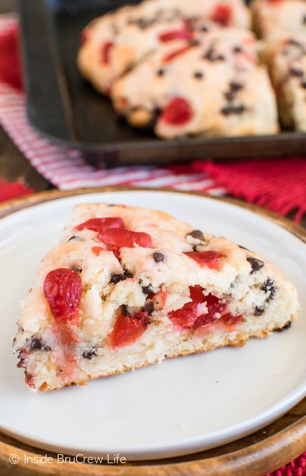 Cherry Chocolate Chip Scones - these easy breakfast scones are loaded with cherries and chocolate chips. Delicious breakfast recipe.