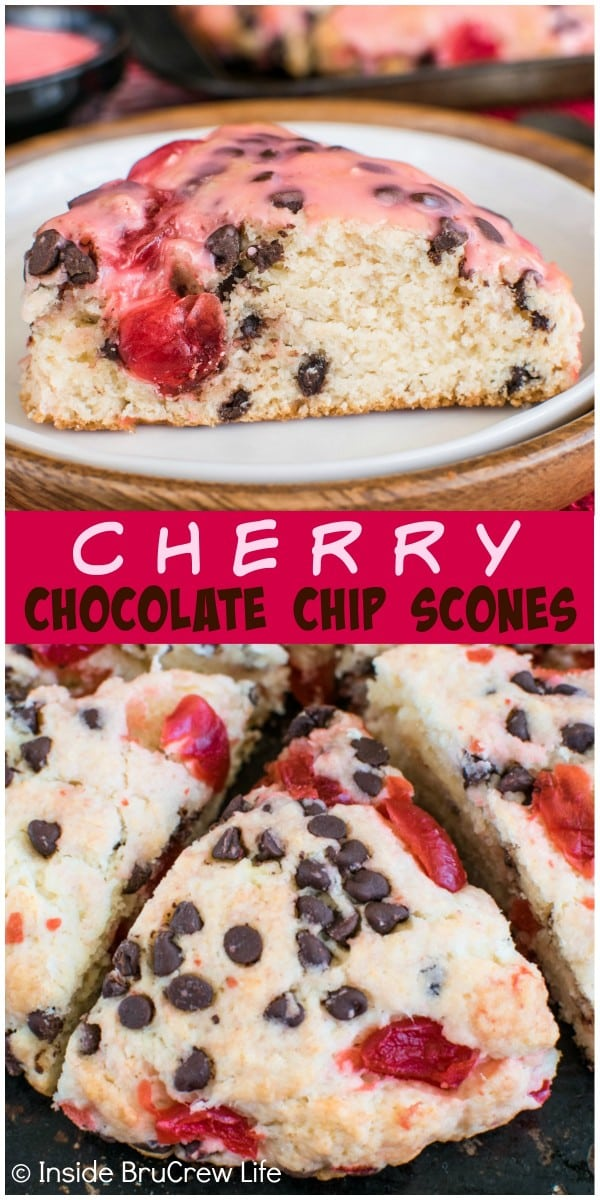 A cherry glaze adds a sweet touch these easy Cherry Chocolate Chip Scones. Perfect breakfast recipe.