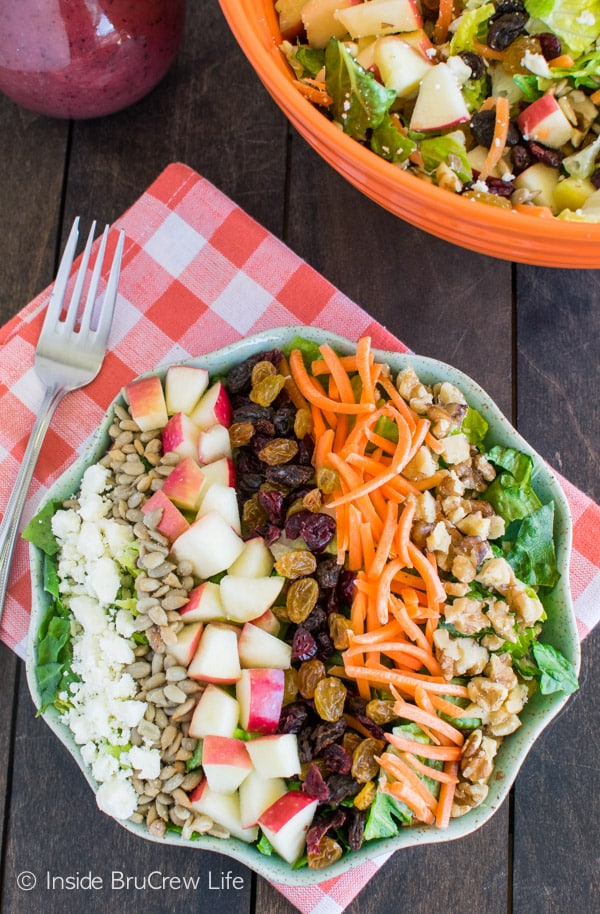 Adding plenty of nuts and fruits makes this Cranberry Poppyseed Apple Salad a great dinner recipe.