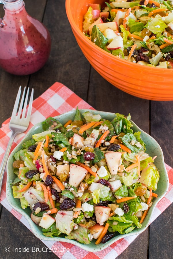 Cranberry Poppyseed Apple Salad - fruit and nuts add a fun crunch to this delicious salad recipe.