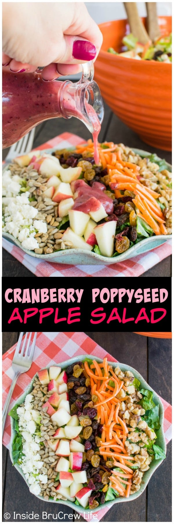 Cranberry Poppyseed Apple Salad - fruit and nuts add a fun crunch to this delicious salad recipe. It's a delicious recipe for picnics or dinner parties.