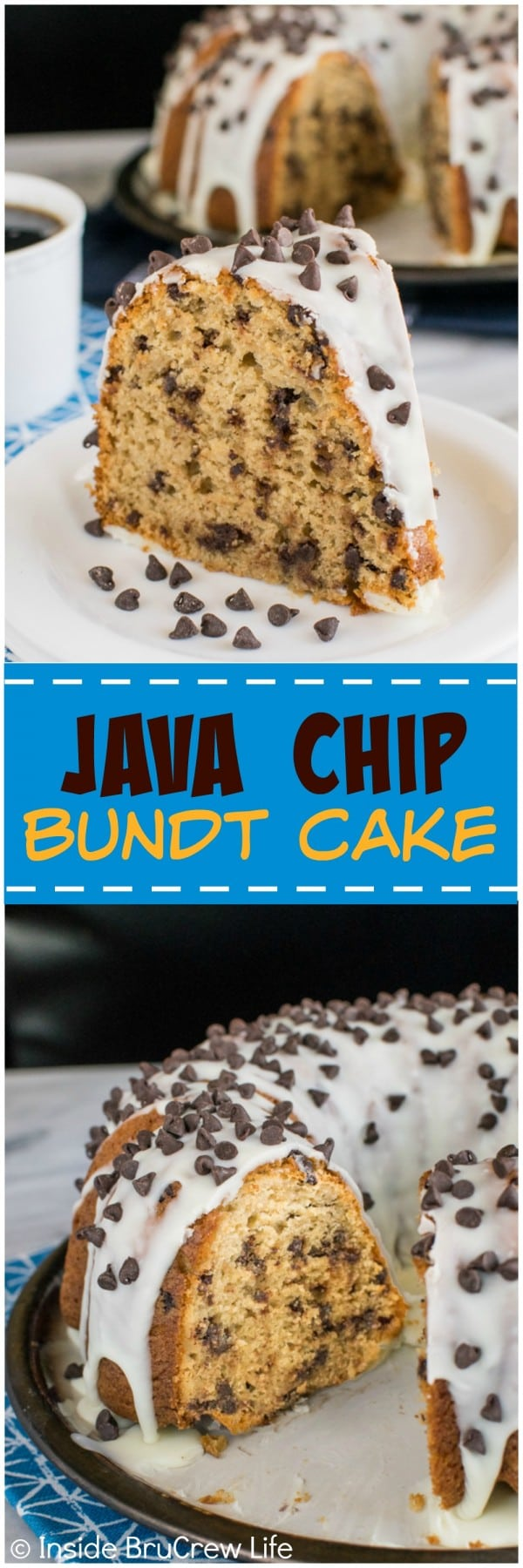 Java Chip Bundt Cake - coffee, chocolate chips, & a white chocolate glaze make this cake taste amazing. Great dessert recipe.
