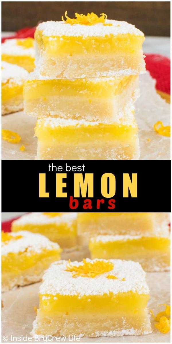 ... best Lemon Bars. Great dessert recipe for spring or Easter parties
