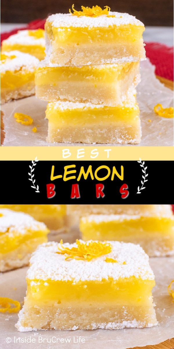 Two pictures of the Best Lemon Bars collaged together with a black and yellow text box