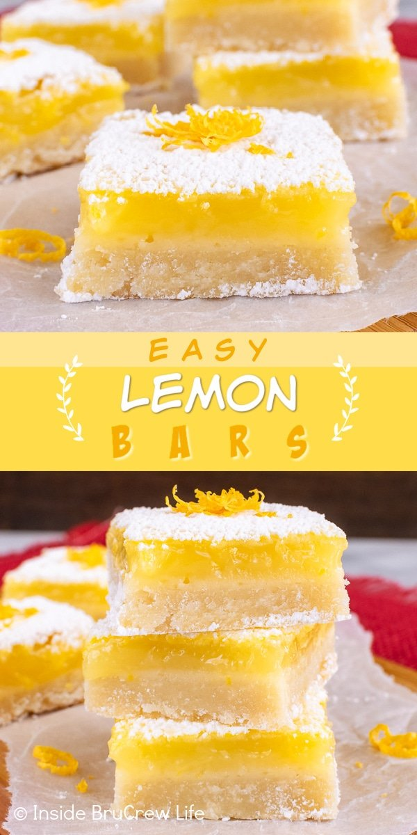 Two pictures of Easy Lemon Bars collaged together with a yellow text box