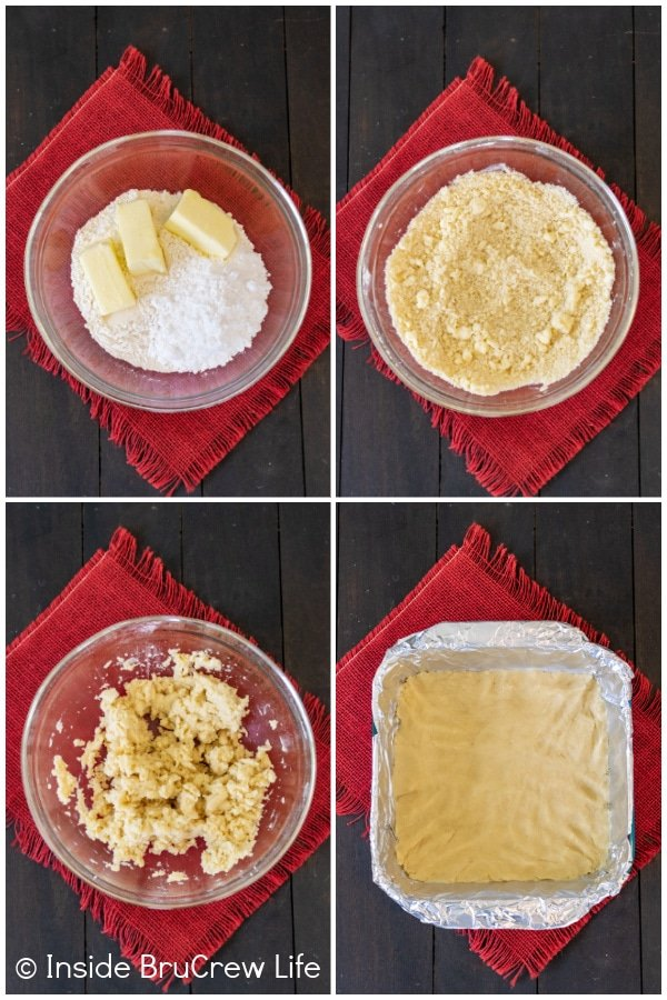 Four pictures collaged together showing how to make the cookie crust for lemon bars
