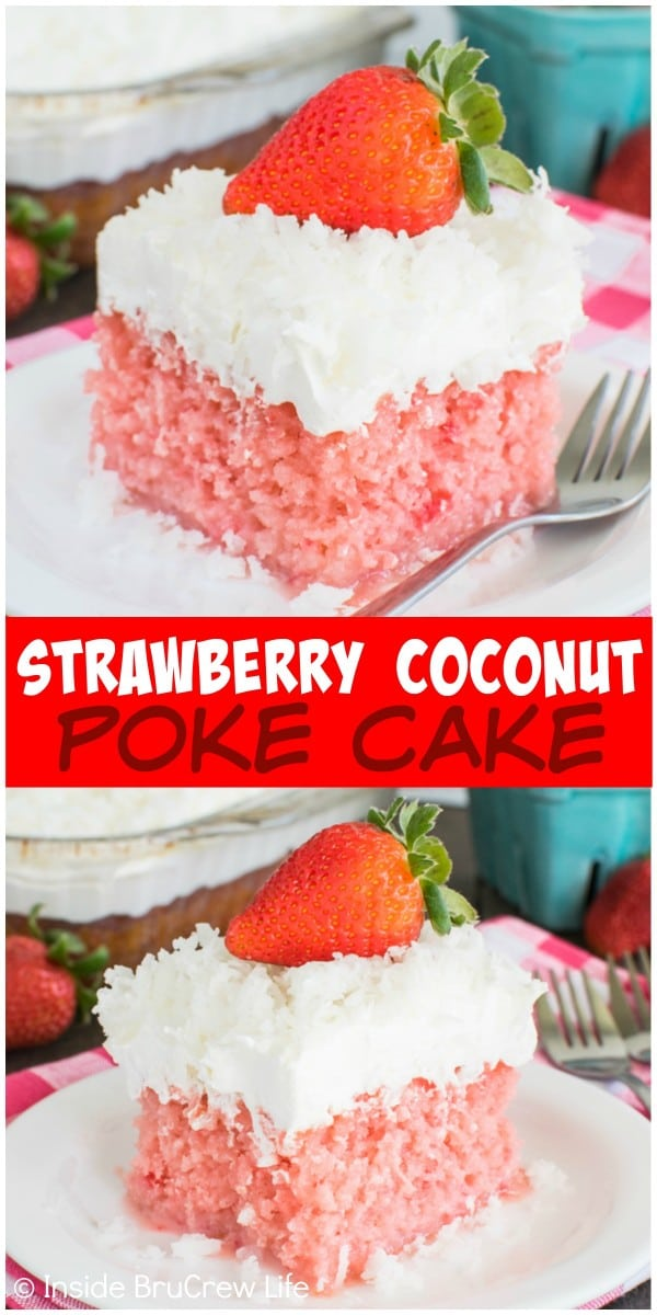 This delicious Strawberry Coconut Poke Cake is loaded with lots of coconut flavor. It's a great dessert recipe for spring or Easter.