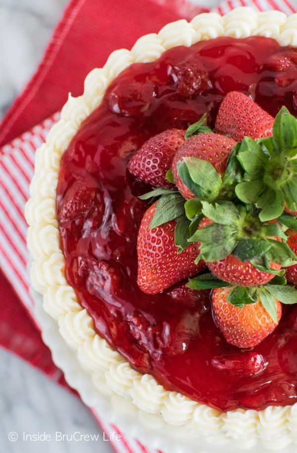 This Strawberry Mousse Cake is a pretty and easy dessert for sharing with friends and family!