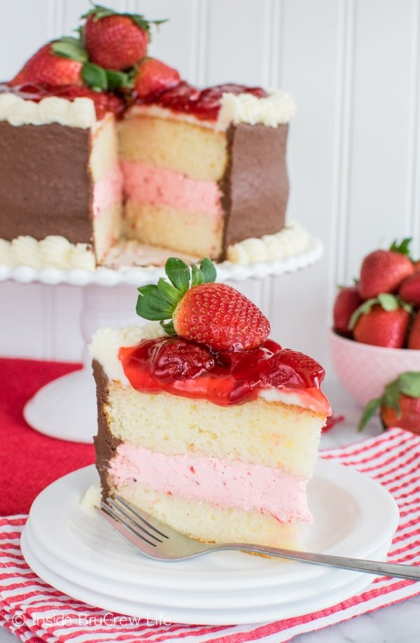 Strawberry Lemon Poke Cake With Sweetened Condensed Milk