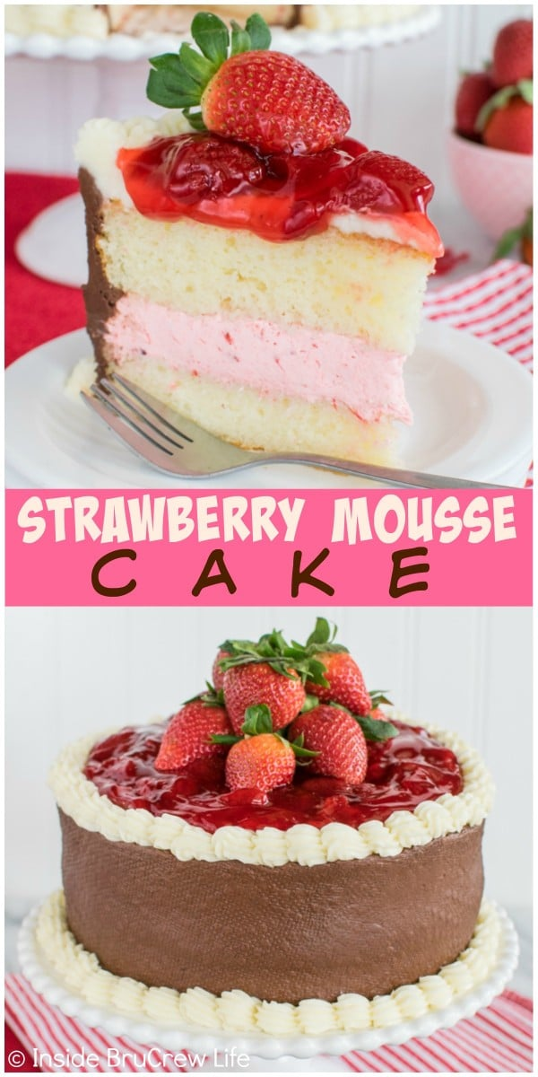 Strawberry, vanilla, and chocolate layers will turn this Strawberry Mousse Cake into a new family favorite recipe. It is an easy dessert for sharing!