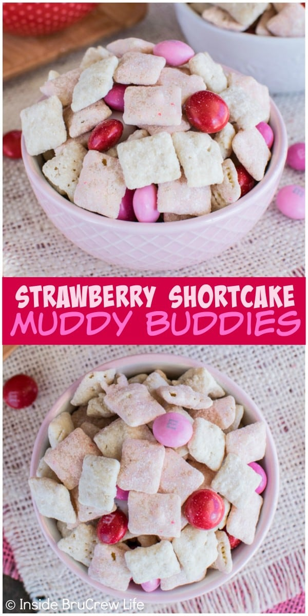 Adding strawberry cake mix and shortbread cookie crumbs makes this Strawberry Shortcake Muddy Buddies disappear in a hurry. It's the perfect no bake recipe for Valentine's day or summer picnics.