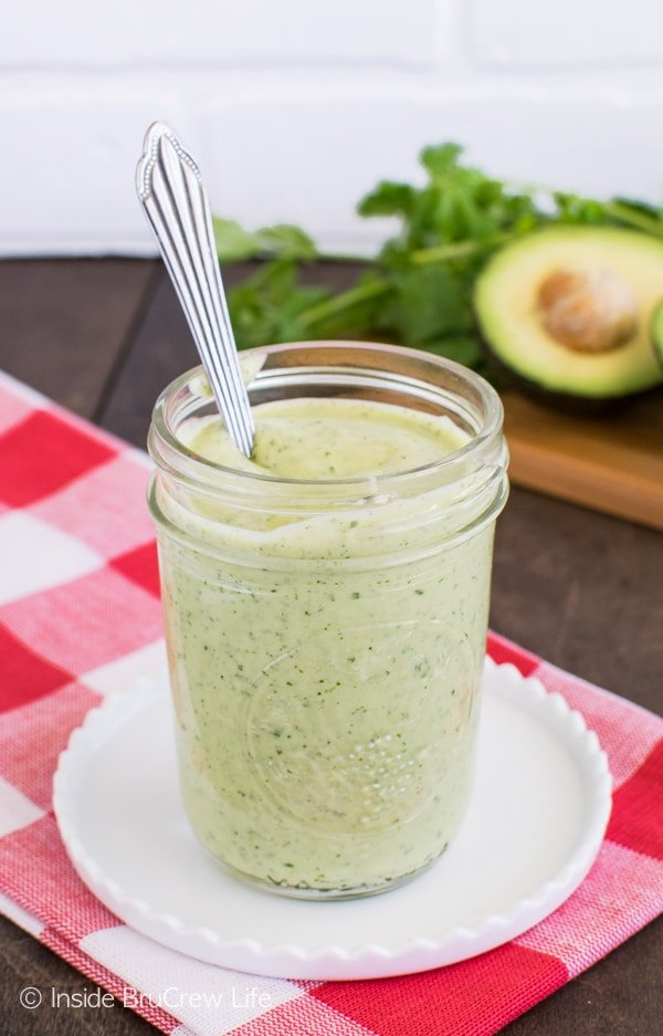 Avocado Lime Salad Dressing - homemade dressing is easy to make from a few ingredients. Great for dinner salads or veggies.