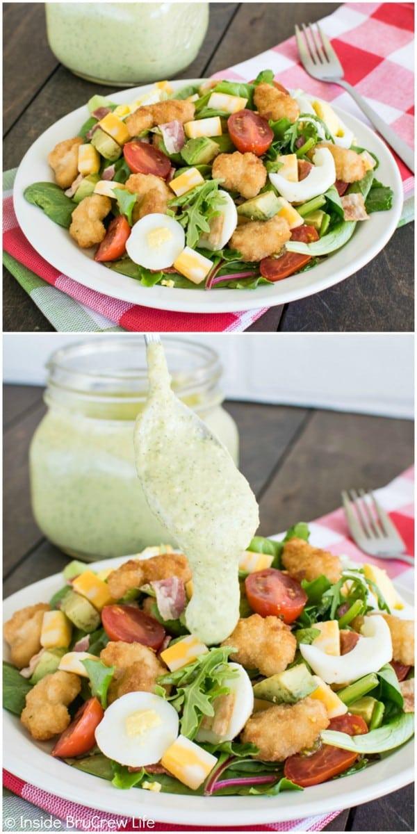 Avocado Shrimp Cobb Salad with Avocado Lime Salad Dressing