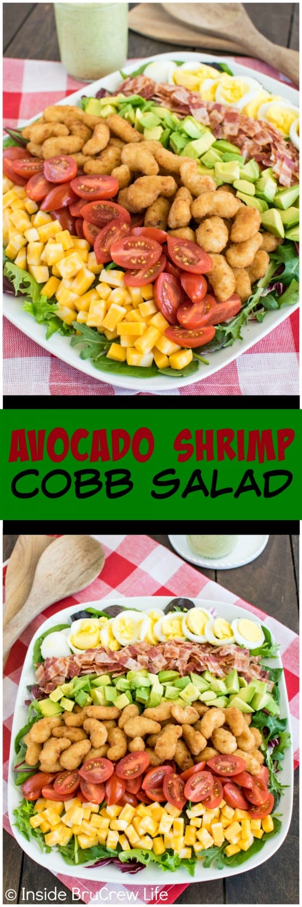 Avocado Shrimp Cobb Salad - layers of shrimp, cheese, and veggies make this easy salad a healthier dinner choice.