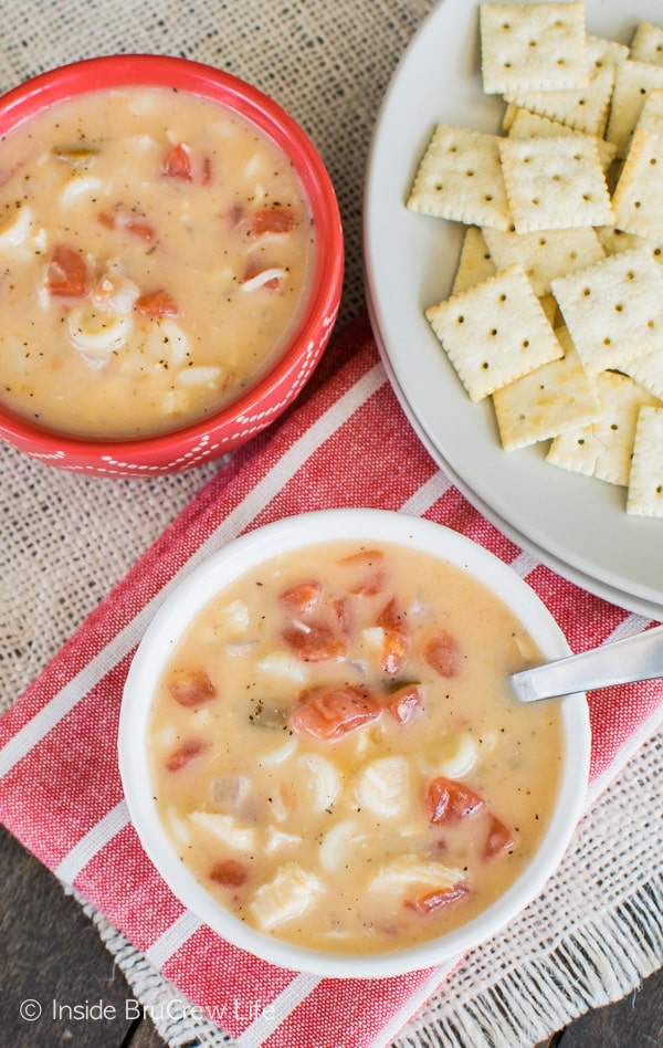 This one pot Cheesy Chicken Soup is a great dinner recipe for busy or chilly nights.