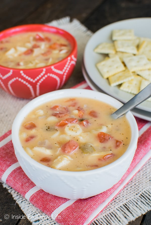 Cheesy Chicken Soup - an easy chicken noodle soup that is made in one pot. Great dinner recipe!