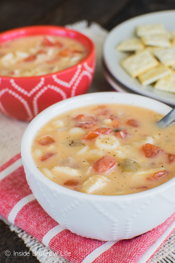 Chicken, noodles, and tomatoes make this easy Cheesy Chicken Soup a great dinner recipe for busy nights.