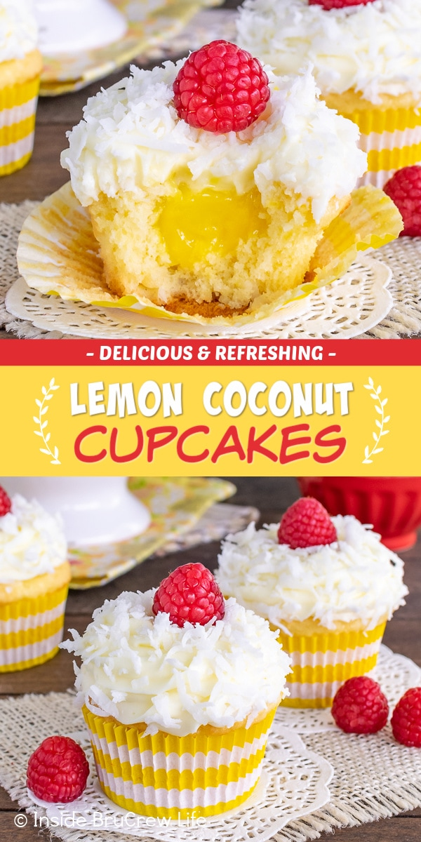 Two pictures of Lemon Coconut Cupcakes collaged together with a red and yellow text box