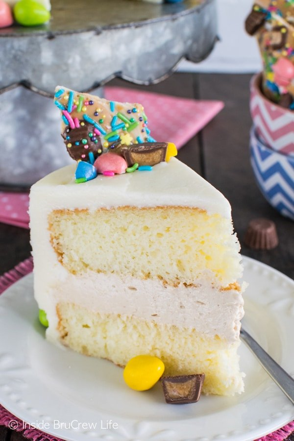 Layers of cake and peanut butter filling in this Peanut Butter Mousse Cake makes it taste amazing! Great dessert recipe.