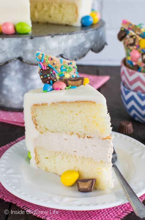 Peanut Butter Mousse Cake - layers of white cake, no bake peanut butter filling, and candy toppings make this a delicious cake. Great dessert recipe.