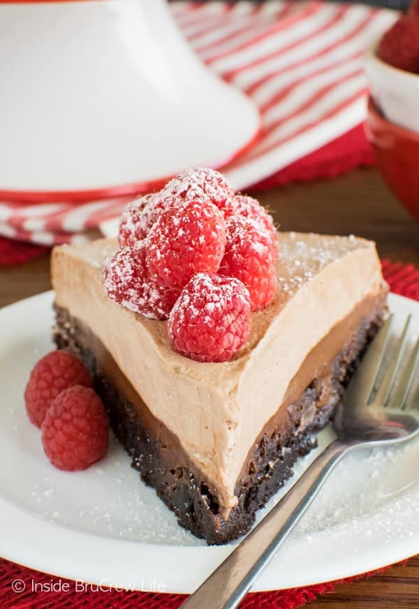 Raspberry Nutella Brownie Cake recipe - three layers of chocolate and fresh berries makes this an absolutely enjoyable dessert!