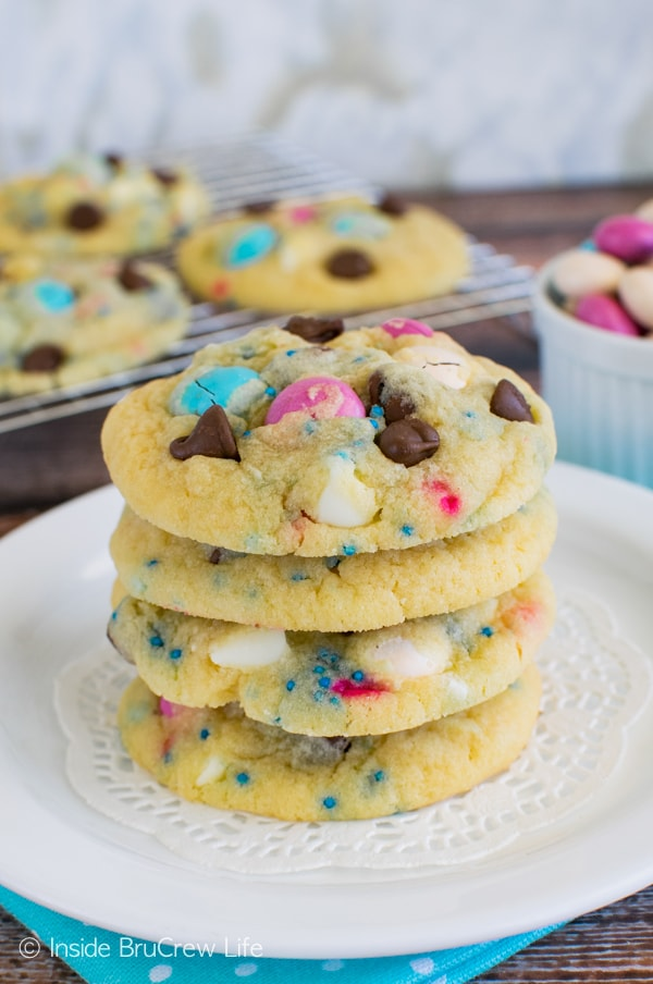 Adding candy and sprinkles makes these easy Vanilla Pudding Cookies a fun treat. Great dessert recipe for lunch boxes.