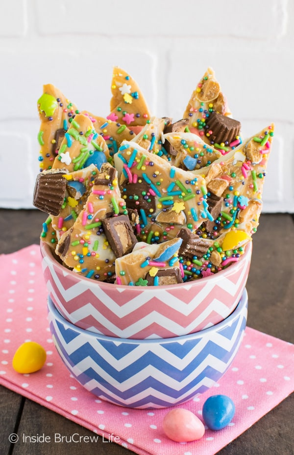 White Chocolate Peanut Butter Bark - two kinds of chocolate, candies, and sprinkles make this no bake dessert a fun treat.