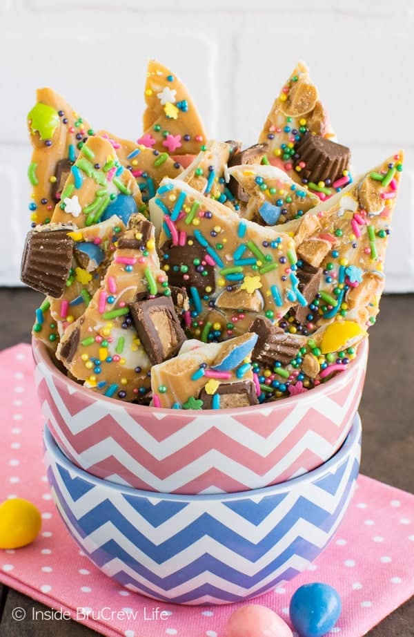 White Chocolate Peanut Butter Bark - a fun and easy chocolate treat loaded with sprinkles and candies