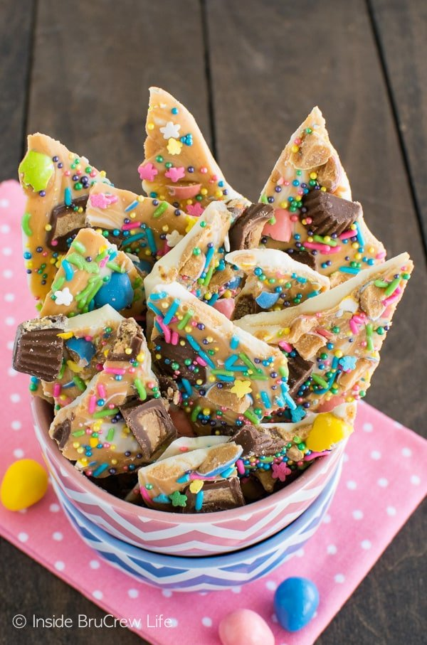 White Chocolate Peanut Butter Bark - tons of sprinkles and candy make this no bake dessert fun to make and eat.