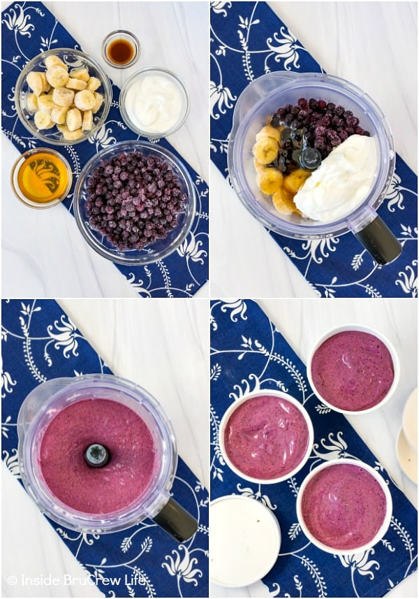 Four pictures collaged together showing ingredients and how to make blueberry banana frozen yogurt