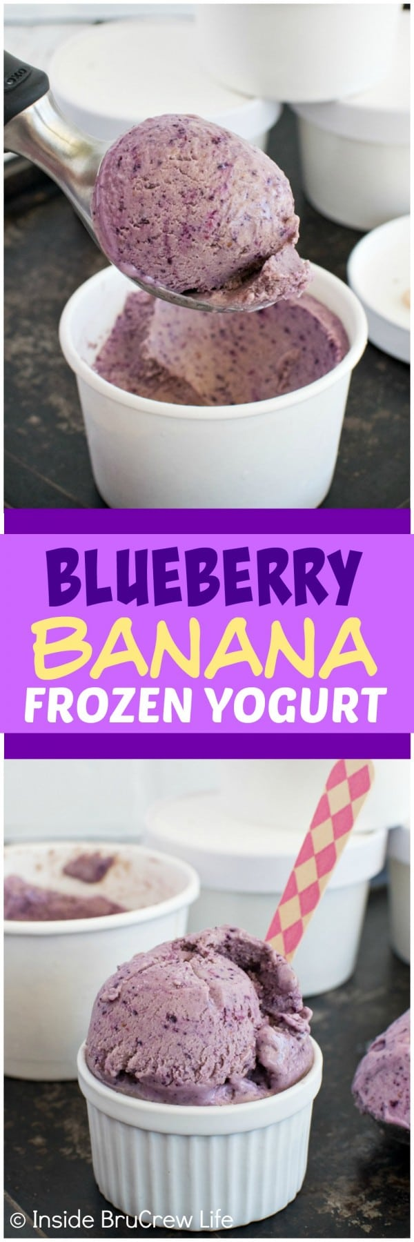 Blueberry Banana Frozen Yogurt - frozen fruit and yogurt make this healthy frozen treat an awesome snack on hot days! Awesome healthy recipe!