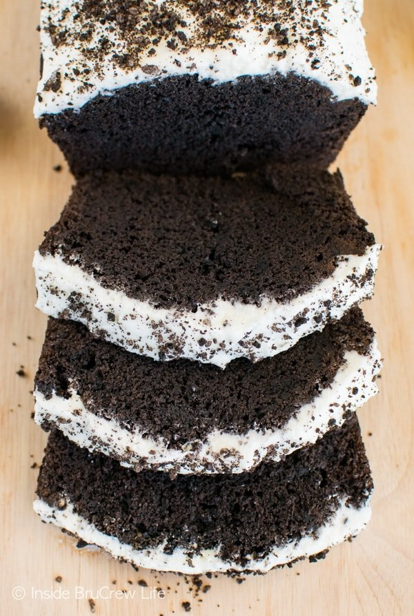 Adding cookies and frosting to this Chocolate Cookies & Cream Banana Bread makes it a decadent breakfast recipe.