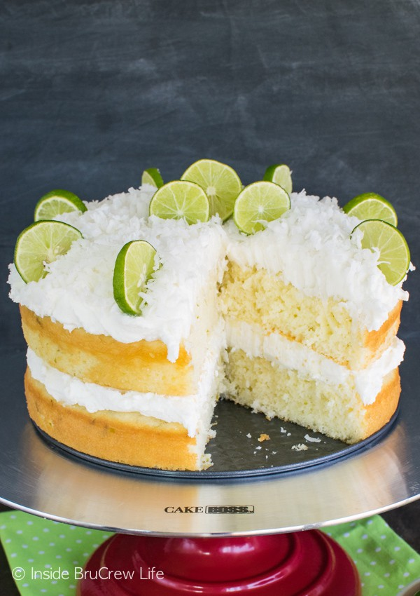 Fluffy coconut frosting and a rum butter glaze give this Coconut Key Lime Rum Cake a fun twist!