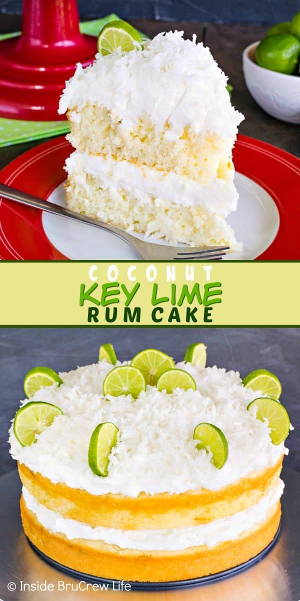 Coconut Key Lime Rum Cake - layers of key lime cake topped with a rum glaze and coconut frosting tastes amazing. Try this easy recipe for spring or summer parties! #keylime #rumcake #coconut #layercake #cake #doctoredcakemix
