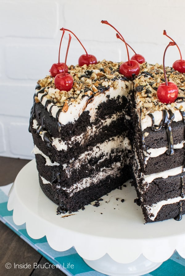 This rich Dark Chocolate Layer Cake is perfect for celebrating any life event! Great dessert recipe!
