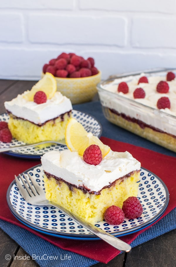 Raspberry preserves and lemon mousse add a fun flair to this Raspberry Lemon Cake. Great summer dessert recipe.