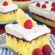 Raspberry Lemon Poke Cake
