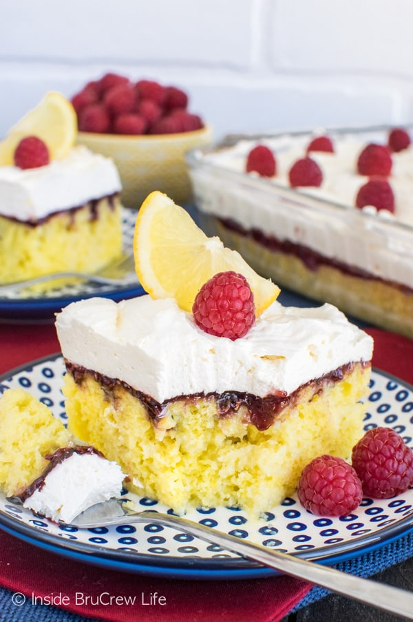 Adding a lemon mousse and raspberry preserves to the top of this Raspberry Lemon Cake makes it a perfect summer dessert recipe.