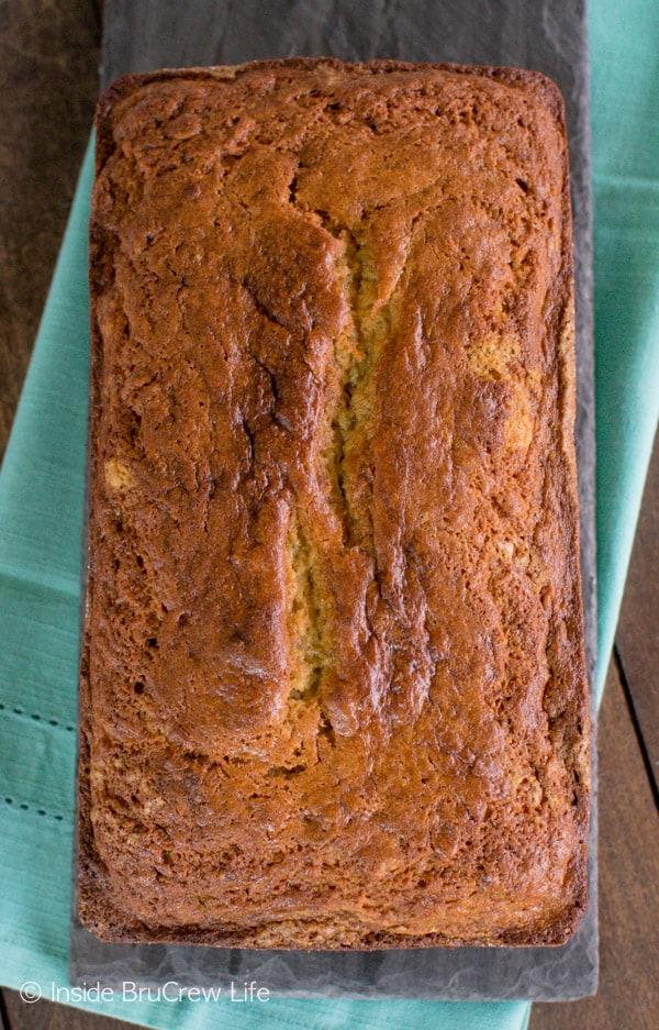 A loaf of this Sour Cream Banana Bread is a great way to start out any morning. Great breakfast recipe.