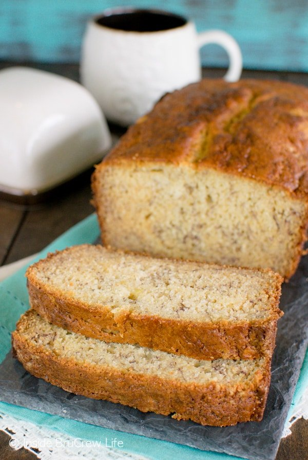 Sour Cream Banana Bread - this easy and plain banana bread is great for using up ripe bananas. Great breakfast recipe.