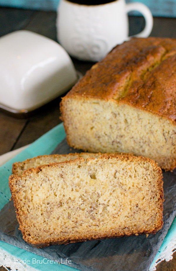 A slice of warm Sour Cream Banana Bread makes a great breakfast choice in the morning. Easy recipe.