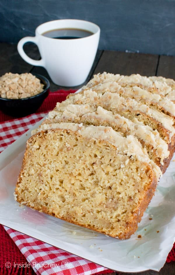 Toffee Apple Bread - shredded apples, toffee bits, and a brown sugar frosting makes this sweet bread recipe a keeper!