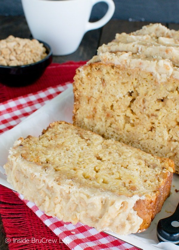 Toffee bits, frosting, and apples make this Toffee Apple Bread perfect for snacking on all day long!