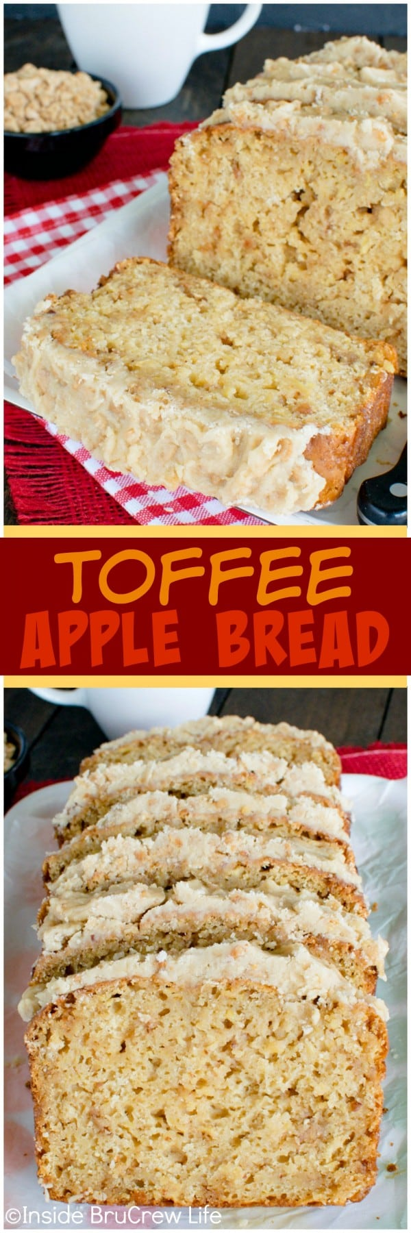 Toffee Apple Bread - shredded apples, toffee bits, and brown sugar frosting makes this sweet bread recipe disappear!