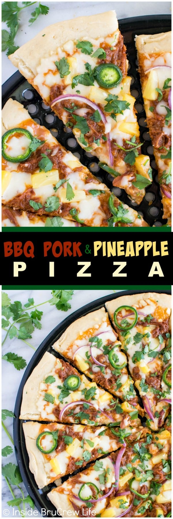 BBQ Pork Pineapple Pizza - pineapple and jalapeño add a sweet & spicy flair to this awesome grilled pizza. Great summer dinner recipe! #99DaysofBBQ #sponsored
