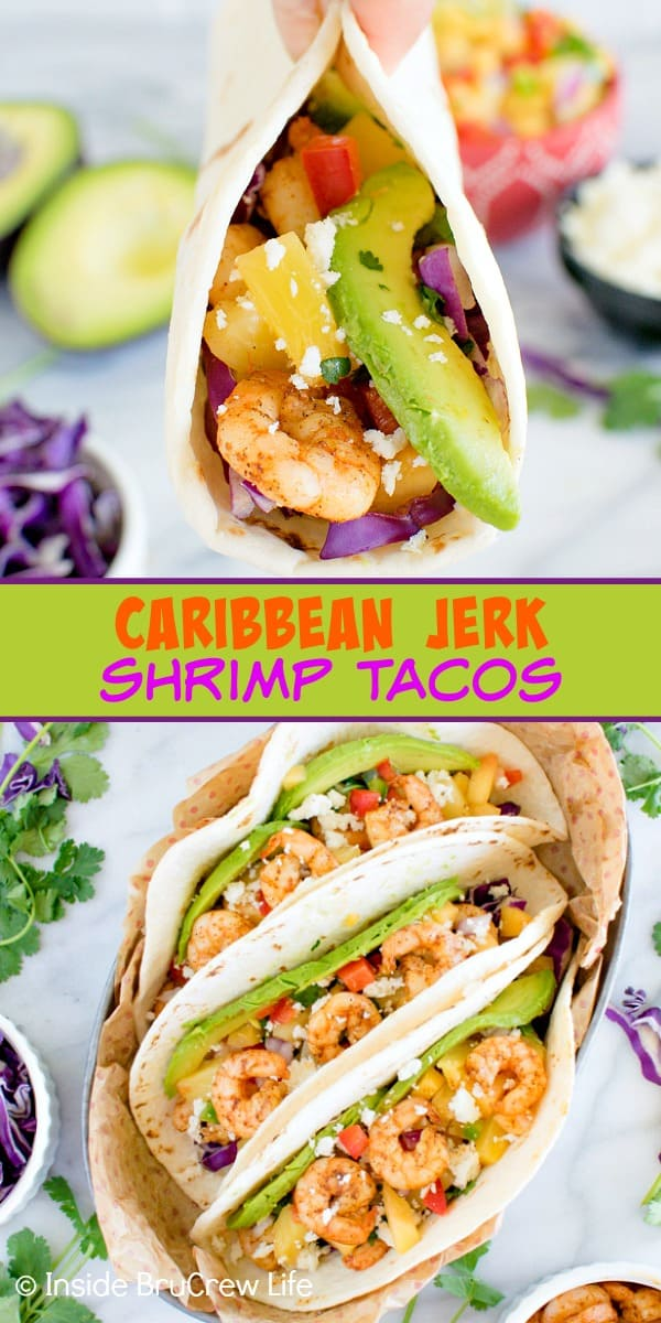Two pictures of shrimp tacos collaged together with a green text box