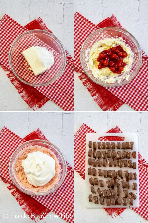 Four pictures showing how to make the filling for a cherry swiss rolls cake collaged together