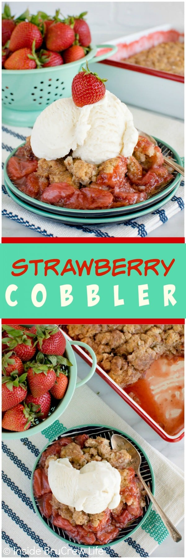 Strawberry Cobbler - hot strawberry pie filling topped with cinnamon sugar biscuits. This is an awesome dessert recipe!