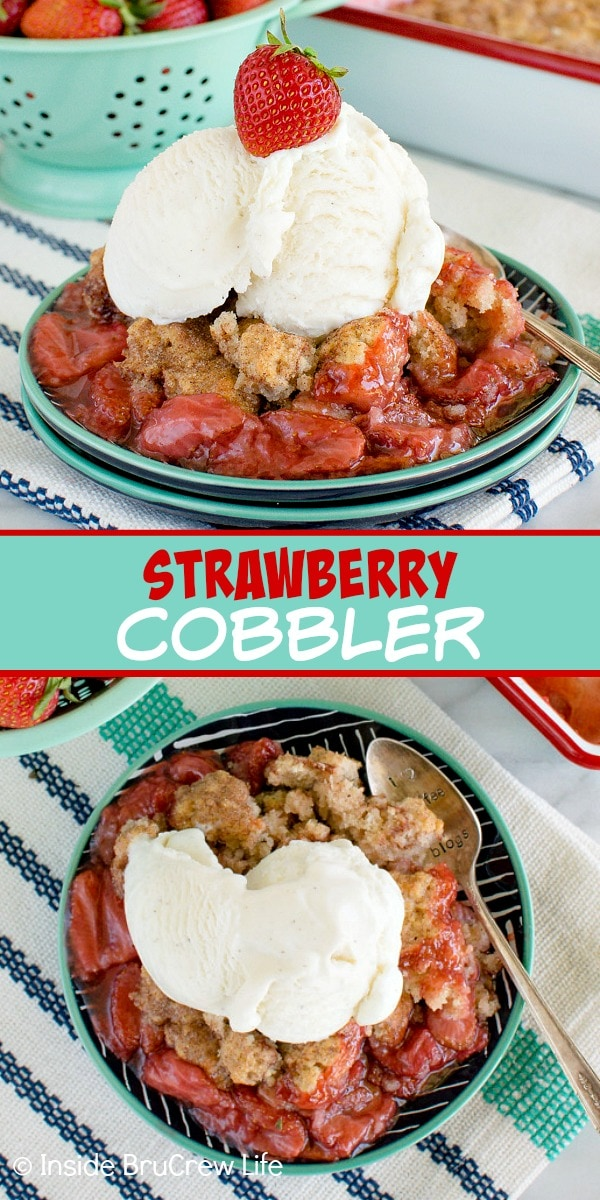 Two pictures of strawberry cobbler collaged together with a green text box